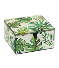 Tropical leaves Keepsake Box with Gold Sparkling Metallic