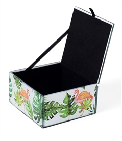 Flamingo Keepsake Box with Gold Sparkling Metallic