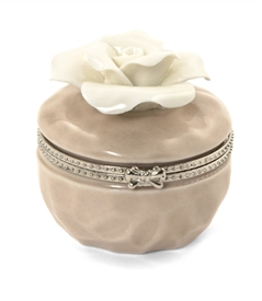Porcelain Rose Hinged Trinket Box / Beige