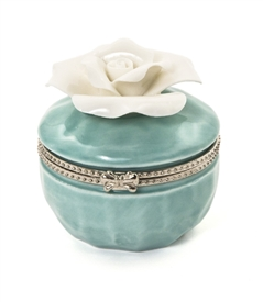 Porcelain Rose Hinged Trinket Box / Aquamarine