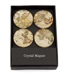 Gold Sparkling Metallic World Map Magnet /Set of 4