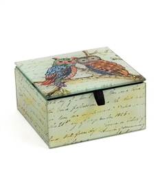 Owl On Branch Keepsake Square Box