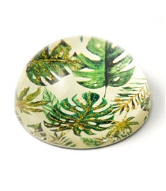 Tropical leaves Paper Weight with Gold Sparkling Metallic