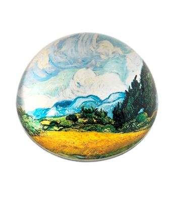 Van Gogh Wheat Field Cypresses Crystal Glass Dome Paperweight