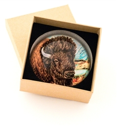 Bison Crystal Glass Dome Paperweight