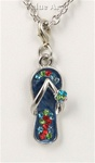 Silver Tone Plated Jeweled Enamel Flipflop Charm