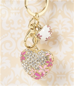 Cherry Blossom Heart Key Chain/Purse Jewelry