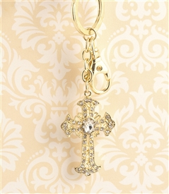 Bejeweled Gold Cross Key Chain/Purse Jewelry