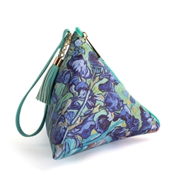 Irises Triangle Wristlet Clutch Purse