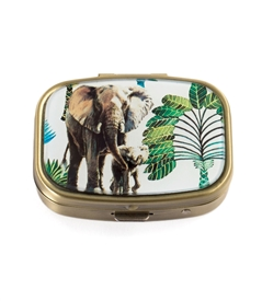 Tropical Elephant Vintage Pill Box
