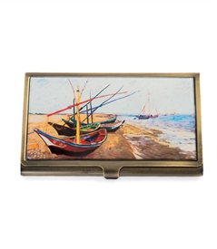 Van Gogh's Fishing Boats On The Beach Card Case