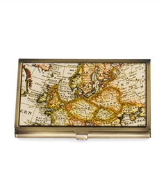 Vintage World Map Card Case