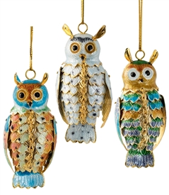 Cloisonne Articulate Owl Ornament