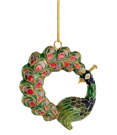 Cloisonne Peacock Ornament