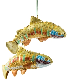 Cloisonne Articulate XLg.Fish Ornament