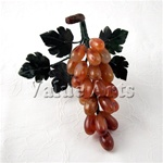 Nature Carnelian Grape with Green Jade Leaves