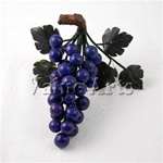 Hand Carved Lapis Grape with Jade Leaves