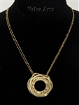 Yellow Gold Plating Circle Pendant Necklace