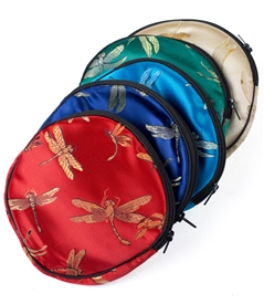 large Silk Round Dragonfly Pouch with Zipper