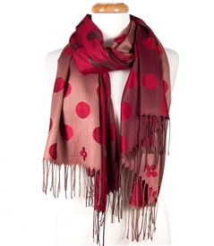 Polka Dot and Flower Reversible Wrap Scarf