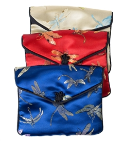 Large Dragonfly Silk Pouch /Zipper