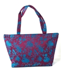 Silk Brocade Floral Design Zippered Large Tote Bag