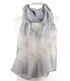 Silk Dragonfly Scarf in Silver