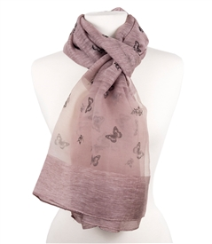 Silk Butterfly Scarf in Vintage Rose Color