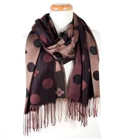 Polka Dot and Flower Wrap Scarf