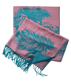 Paisley and Feather Fringed Edge Scarf