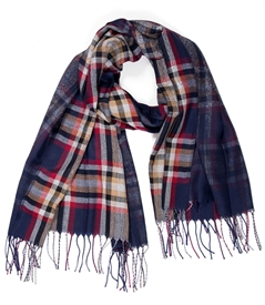 Plaid Scarf in Navy