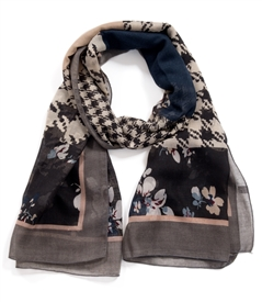 Vintage Herringbone and Floral Design Scarf