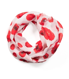 Red Poppy Scarf in White